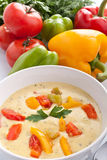 Cheese and Vegetable Cream Soup Stock Photo