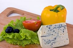 Cheese with vegetables. For salad Stock Photography