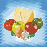 Cheese and vegetables. On abstract background Stock Image