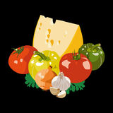 Cheese and vegetables. On a black background Stock Image
