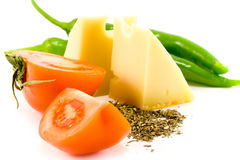 Cheese, vegetables and herb Royalty Free Stock Photo