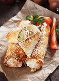 Cheese and vegetables phyllo pastry rolls Royalty Free Stock Photography