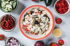 Cheese and vegetables salad Royalty Free Stock Photography