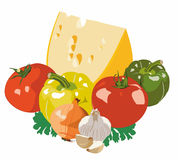 Cheese and vegetables. Cheese and various vegetables around Stock Photography