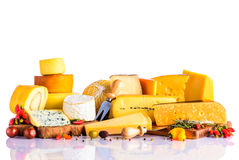 Cheese and Vegetables on White Background Stock Photo