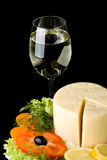 Cheese with vegetables and wine Stock Photo