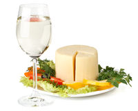 Cheese with vegetables and wine Stock Photography