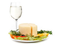 Cheese with vegetables and wine Royalty Free Stock Photos