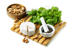 Cheese and walnuts with basil stock photography
