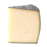 Cheese Wedge. Of a typical Spanish cheese with black rind. Isolated on white stock image
