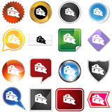 Cheese Wedge Icon Set. Isolated on a white background Royalty Free Stock Photos