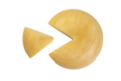 Cheese wheel with clice Stock Photography