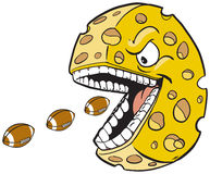 Cheese wheel with face and mouth eating footballs Stock Images
