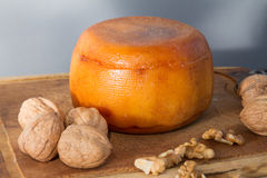 Cheese wheel with nuts Royalty Free Stock Photos