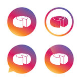 Cheese wheel sign icon. Sliced cheese. Stock Images