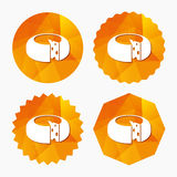 Cheese wheel sign icon. Sliced cheese. Royalty Free Stock Photography