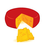 Cheese wheel slices vector Royalty Free Stock Photography