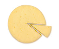 Cheese wheel. Top view of cheese wheel isolated royalty free stock photos