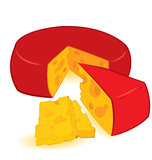 Cheese wheel vector Royalty Free Stock Photo