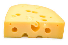 Cheese on white. The big piece of cheese on white background. Isolation Royalty Free Stock Photography