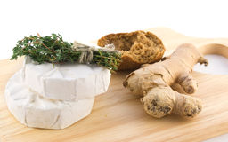 Cheese with white mold and herbs Royalty Free Stock Photo