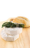 Cheese with white mold and herbs Stock Photo