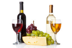 Cheese, white and red wine Stock Image