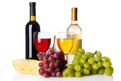 Cheese, white and red wine Royalty Free Stock Photography