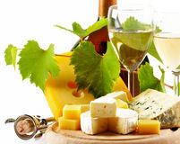 Cheese and wine. Various types of cheese and wine Royalty Free Stock Image