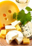 Cheese and wine. Various types of cheese , fruits and wine Stock Photo
