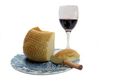 Cheese and Wine. Wine and cheese on a plate Royalty Free Stock Photo