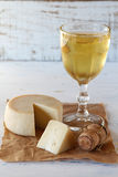 Cheese and wine Stock Photography