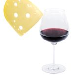 Cheese and wine. Glass of wine and slice of cheese on a white background. Studio Stock Image