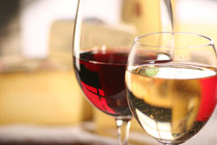 Cheese and wine. Cheese and two glasses of wine royalty free stock photo