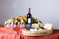 Cheese and wine. Glasses, red wine and cheese Stock Photo