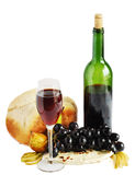 Cheese,wine and bread. Isolated Stock Image