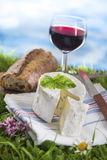 Cheese, wine and and bread, French culibary Scene Stock Photography