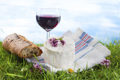 Cheese, wine and and bread, French culibary Scene Royalty Free Stock Images