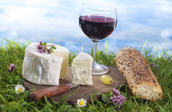 Cheese, wine and and bread, French culibary Scene Stock Images
