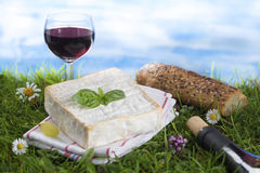 Cheese, wine and and bread, French culinary Scene Royalty Free Stock Image