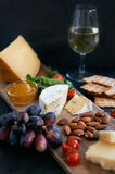 Cheese and wine evening Stock Photos