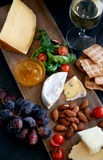 Cheese and wine evening Stock Images