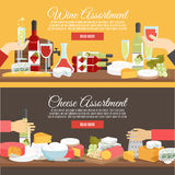 Cheese And Wine Flat Banner Set Stock Photos