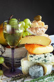 Cheese, wine and fruits Royalty Free Stock Images