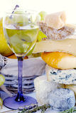Cheese, wine and fruits Royalty Free Stock Image