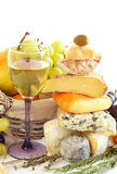Cheese, wine and fruits Royalty Free Stock Photos