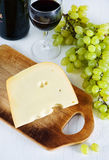 Cheese, wine and grape Stock Photo