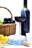 Cheese, wine, grapes Royalty Free Stock Photos