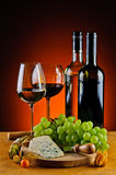 Cheese, wine and grapes Royalty Free Stock Photography