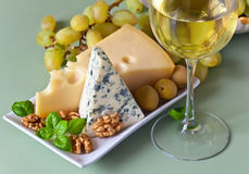 Cheese with wine Stock Photography